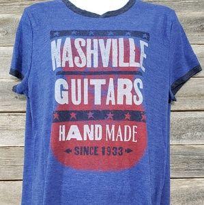 Lucky Brand mens Nashville Guitars Graphic Top